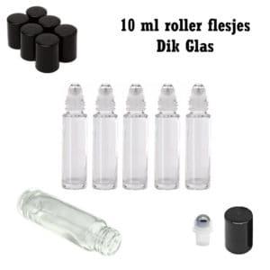 10 ml glazen roller flesjes transparant dik glas essentiële olie parfumrollers (5 stuks)