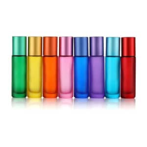 Rollerflesjes regenboog Chakra kleuren 10ml parfumrollers dik glas (8 stuks)