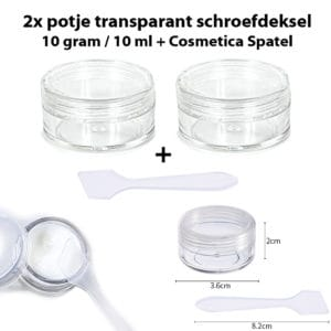 2x potje transparant schroefdeksel 10ml + spatel