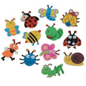 24 houten Plakstickers insecten