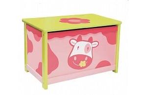 I 'm Toy Houten speelgoedopbergkist koe roze met deksel