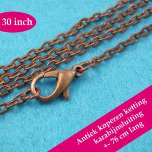 Antiek koperen halsketting – losse ketting koper