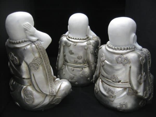 Boeddha set Horen, zien, zwijgen wit zilver