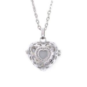 Parfum diffuser ketting hart medaillon lavasteen aromatherapie