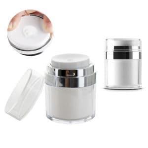 Airless cosmetica pot 30ml, lotion dispenser transparant zilver pomp potje