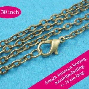 Bronzen halsketting – losse kabel ketting brons karabijnsluiting