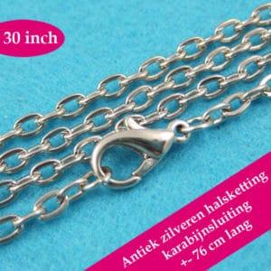 Antiek zilveren halsketting – losse ketting zilver