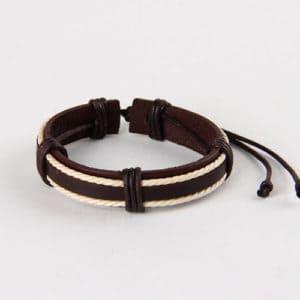 Armband bruin leer touw vintage