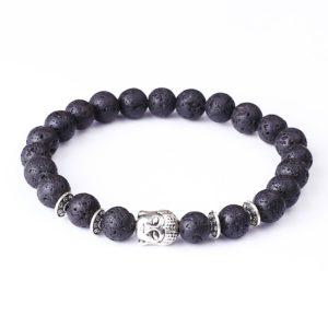 Armband lavasteenkralen zwart Boeddha