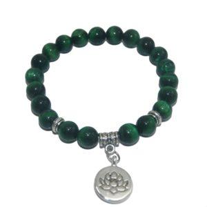 Armband Lotus groene tijgeroog natuursteen