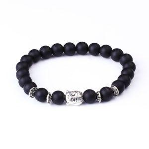 Armband mat zwart Onyx kralen Boeddha
