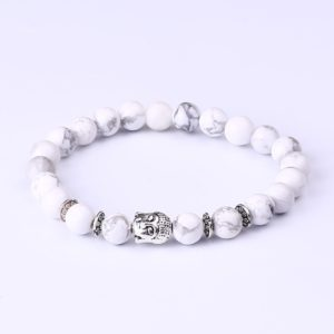 Armband witte howliet kralen Boeddha
