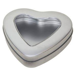 Blikje Hart + venster deksel, aluminium verpakkingen hartvormig