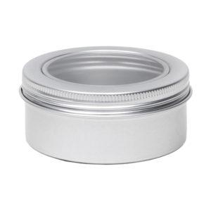 Blikken pot venster 80ml zilver rond, schroefdeksel + kijkvenster, aluminium verpakkingen