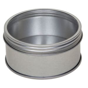 Blikken pot zilver rond, schroefdeksel + venster, aluminium verpakkingen
