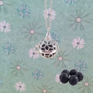 Bloem parfum medaillon Diffuser aroma ketting lavasteen pomander