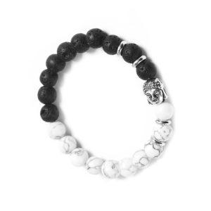 Armband lavasteen witte howliet buddha