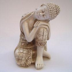 Boeddha beeldje wit rustend 6x6x9cm
