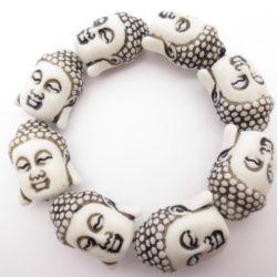 Boeddha hoofdjes armband wit