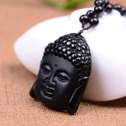 Boeddha Ketting zwarte Obsidiaan geluksamulet natuursteen