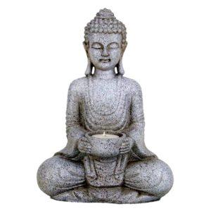 Boeddha Meditatie + waxine kaarshouder grijs
