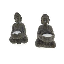 Boeddha meditatie waxinelichthouder houtlook 9x14x9cm