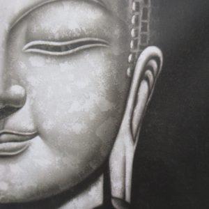 Boeddha schilderij gezicht 30x40cm.