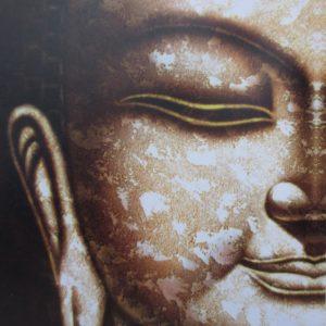Boeddha schilderij half gezicht 50x60cm.