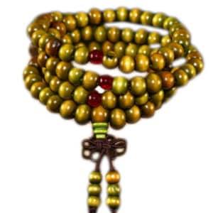 Boeddhistische armband ketting houten kralen handgemaakt