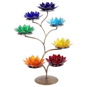 Chakra bronzen boom inclusief 7 lotus sfeerlichten