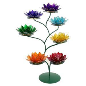 Chakra Lotus boom display groen + 7 sfeerlichten