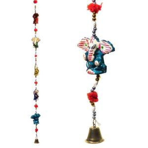 Decoratieve slinger Ganesha Olifantjes belletje