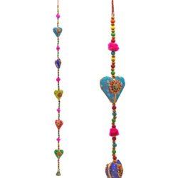 Decoratieve slinger hartjes katoen 90 cm.