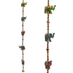 Decoratieve slinger houten Olifantjes belletje