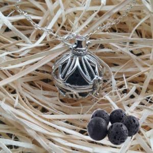 Diffuser aroma ketting petal blad parfum medaillon lavasteen