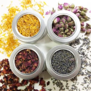 Droogbloemen geurset Lavendel, Calendula, Rozenblaadjes, Rozenknopjes