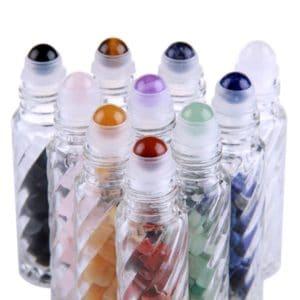 Edelsteen parfumrollers roller flesjes sierglas 10ml glazen essentiële olie edelstenen rollers