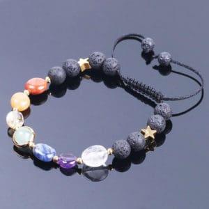 Edelstenen armband lavasteen natuursteen verstelbaar