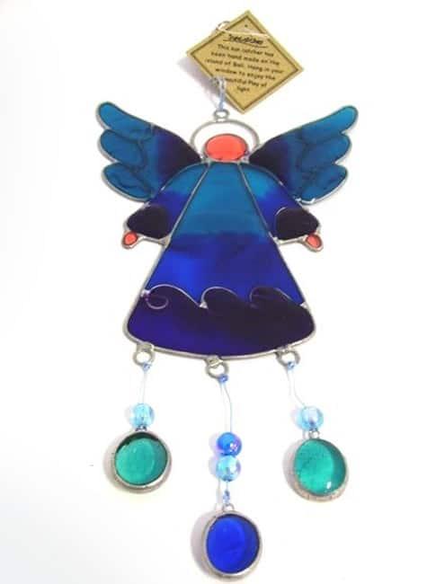Engel zonvanger blauw raamhanger slinger glas suncatcher