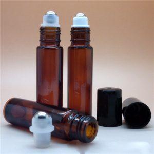 Essentiële olie roller flesjes parfumroller fles amber bruin glas 10ml (5 stuks)