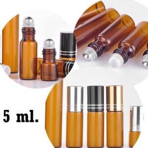 Essentiële olie roller flesjes 5 ml Parfumroller amber glas roll on rollers (5 stuks)