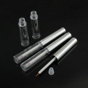 Eyeliner tube 7 ml zilveren dop + penseel kwastje – lege cosmetische verpakking