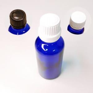 Fles blauw glas schroefdop 10 ml t/m 100 ml
