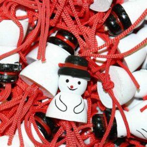 Gelukspoppetjes Sneeuwpop 2cm. 100 stuks.