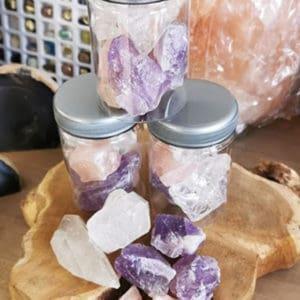 Gouden driehoek edelstenen mix Rozenkwarts, Bergkristal & Amethist