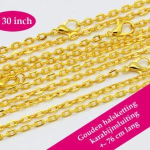 Gouden halsketting – losse kabel ketting goud karabijnsluiting