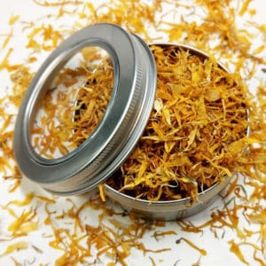 Goudsbloem blaadjes blikje 150 ml + kijkvenster – gedroogde Calendula 1e kwaliteit