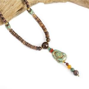 Halsketting boeddha mala Tibetaans boeddhistische houten kralenketting