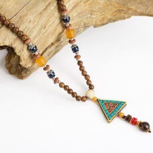 Halsketting mala driehoek Tibetaans boeddhistische houten kralenketting