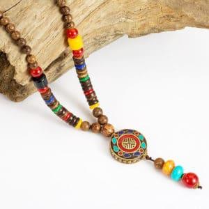 Halsketting mala rond Tibetaans boeddhistische houten kralenketting